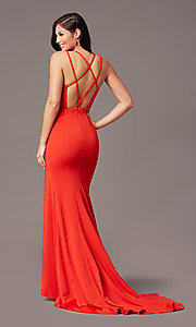 Image of multi-strap open-back long prom dress by PromGirl. Style: PG-B2034 Front Image