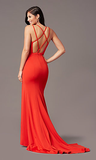 Multi-Strap Open-Back Long Prom Dress by PromGirl