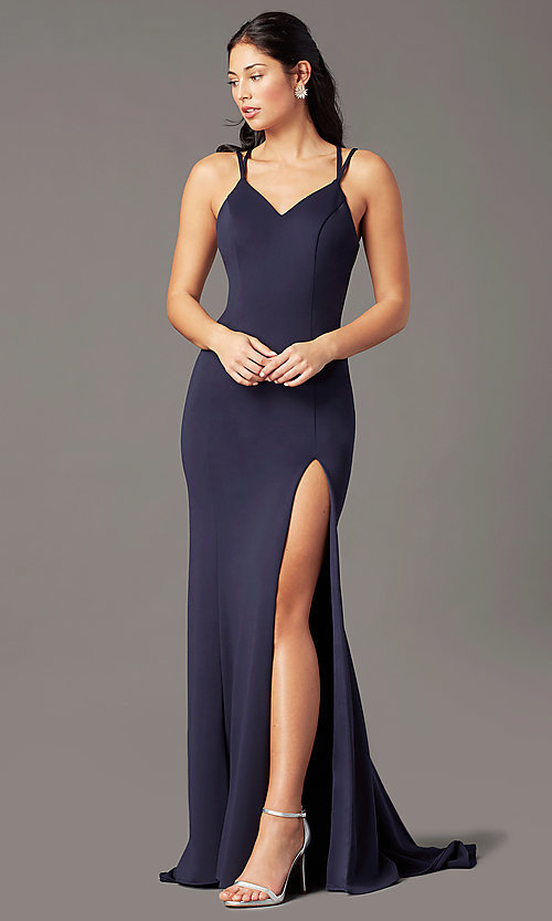 Image of multi-strap open-back long prom dress by PromGirl. Style: PG-B2034 Detail Image 3