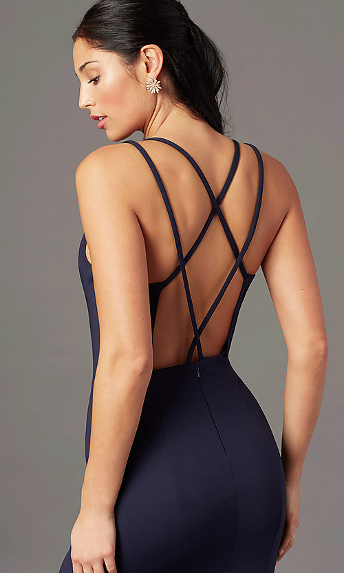 Image of multi-strap open-back long prom dress by PromGirl. Style: PG-B2034 Detail Image 5