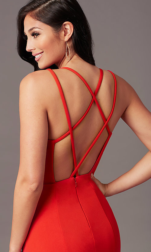 Image of multi-strap open-back long prom dress by PromGirl. Style: PG-B2034 Detail Image 1