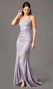 Image of long glitter-knit v-neck prom dress by PromGirl.  Style: PG-B2037 Front Image