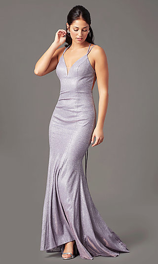 Long Glitter-Knit V-Neck Prom Dress by PromGirl