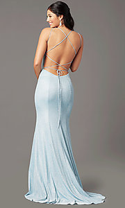 Image of glitter-knit long backless prom dress by PromGirl. Style: PG-B2038 Detail Image 3