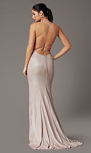 Image of glitter-knit long backless prom dress by PromGirl. Style: PG-B2038 Detail Image 5