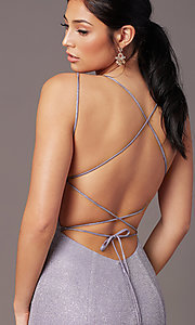 Image of glitter-knit long backless prom dress by PromGirl. Style: PG-B2038 Detail Image 1