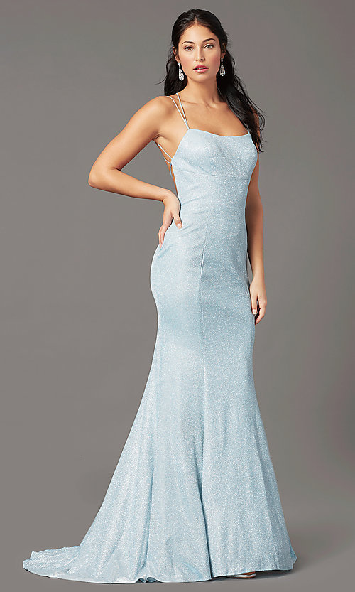 Image of glitter-knit long backless prom dress by PromGirl. Style: PG-B2038 Detail Image 2