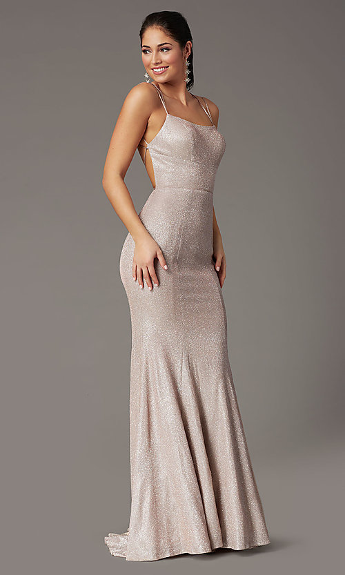 Image of glitter-knit long backless prom dress by PromGirl. Style: PG-B2038 Detail Image 6