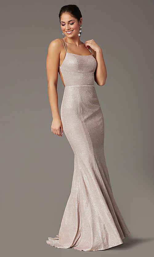 Image of glitter-knit long backless prom dress by PromGirl. Style: PG-B2038 Detail Image 7