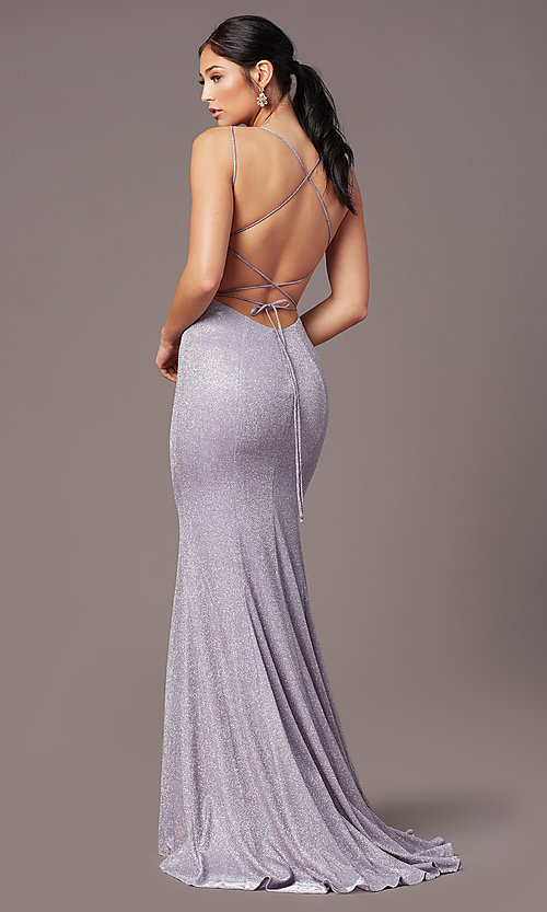 Image of glitter-knit long backless prom dress by PromGirl. Style: PG-B2038 Front Image