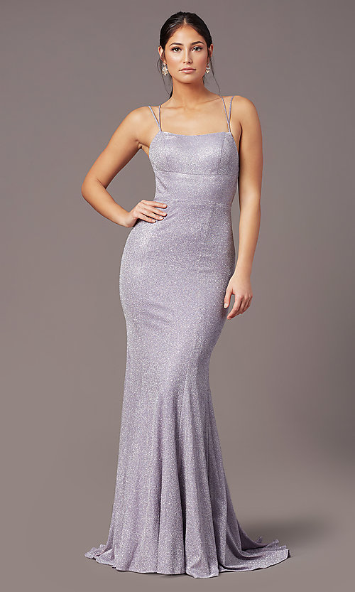 Image of glitter-knit long backless prom dress by PromGirl. Style: PG-B2038 Back Image