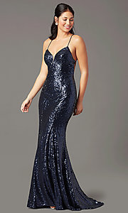 Image of PromGirl sequin v-neck long prom dress. Style: PG-B2039 Front Image