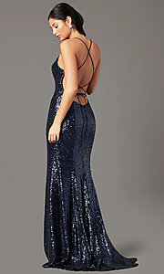 Image of PromGirl sequin v-neck long prom dress. Style: PG-B2039 Back Image
