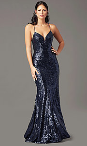 Image of PromGirl sequin v-neck long prom dress. Style: PG-B2039 Detail Image 1
