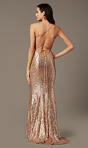 Image of PromGirl sequin v-neck long prom dress. Style: PG-B2039 Detail Image 4