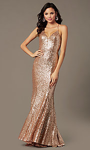Image of PromGirl sequin v-neck long prom dress. Style: PG-B2039 Detail Image 6