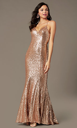 Sequin V-Neck Long Prom Dress by PromGirl