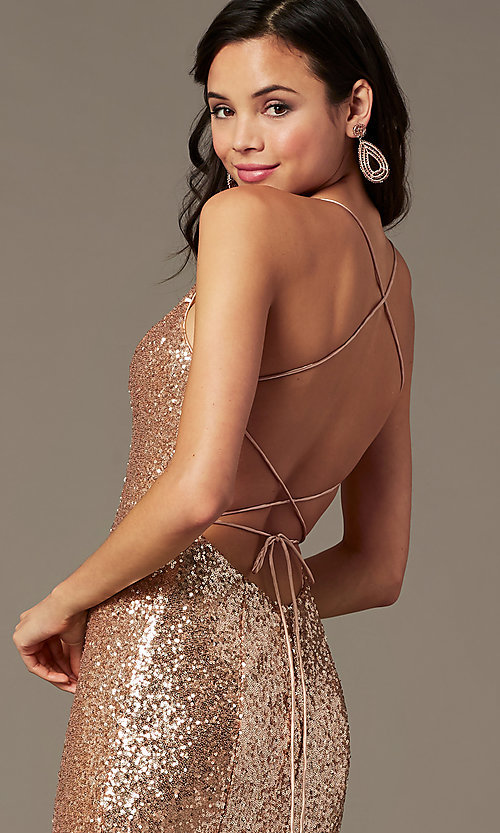Image of PromGirl sequin v-neck long prom dress. Style: PG-B2039 Detail Image 5