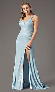 Image of long glitter-knit formal prom dress by PromGirl. Style: PG-B2040 Detail Image 1