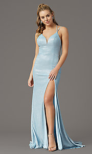 Image of long glitter-knit formal prom dress by PromGirl. Style: PG-B2040 Detail Image 6