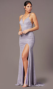 Image of long glitter-knit formal prom dress by PromGirl. Style: PG-B2040 Front Image