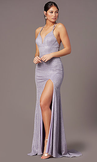 Long Glitter-Knit Formal Prom Dress by PromGirl