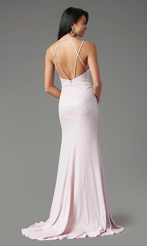 Image of long glitter-knit formal prom dress by PromGirl. Style: PG-B2040 Detail Image 2