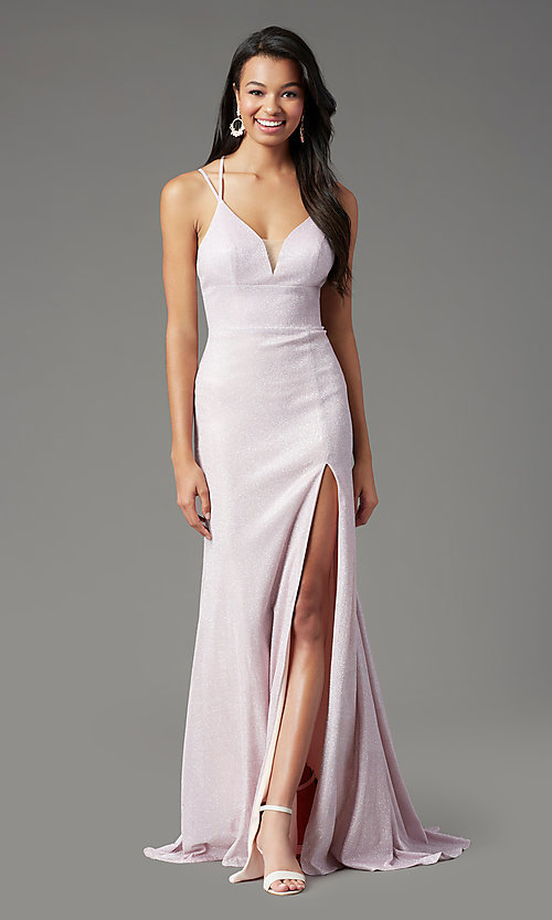 Image of long glitter-knit formal prom dress by PromGirl. Style: PG-B2040 Detail Image 5