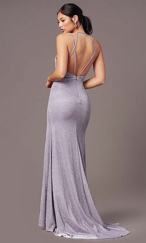 Image of long glitter-knit formal prom dress by PromGirl. Style: PG-B2040 Back Image