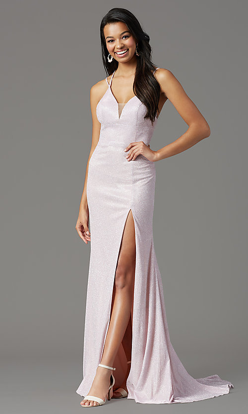 Image of long glitter-knit formal prom dress by PromGirl. Style: PG-B2040 Detail Image 3
