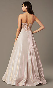 Image of long a-line embroidered-bodice prom dress by PromGirl. Style: PG-B2041 Back Image