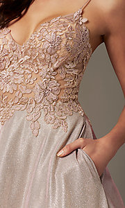 Image of long a-line embroidered-bodice prom dress by PromGirl. Style: PG-B2041 Detail Image 1