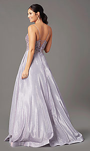 Image of long a-line embroidered-bodice prom dress by PromGirl. Style: PG-B2041 Detail Image 3