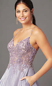 Image of long a-line embroidered-bodice prom dress by PromGirl. Style: PG-B2041 Detail Image 4
