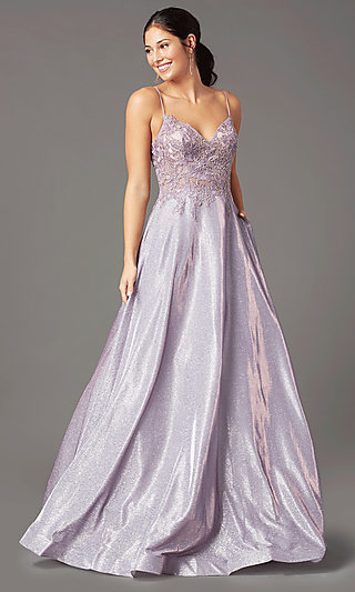 Long A-Line Embroidered-Bodice Prom Dress by PromGirl