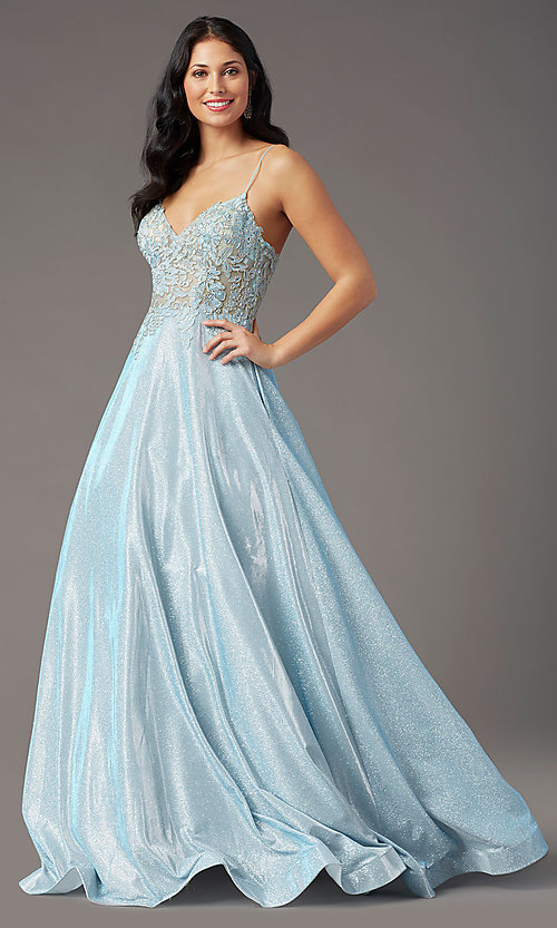 Image of long a-line embroidered-bodice prom dress by PromGirl. Style: PG-B2041 Detail Image 6