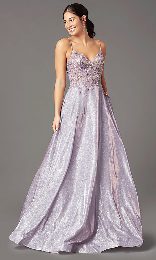 Image of long a-line embroidered-bodice prom dress by PromGirl. Style: PG-B2041 Detail Image 2
