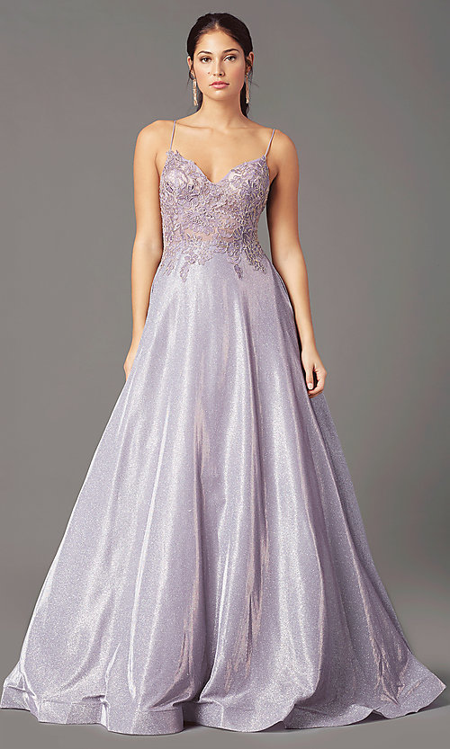Image of long a-line embroidered-bodice prom dress by PromGirl. Style: PG-B2041 Detail Image 5