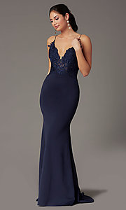 Image of PromGirl embroidered-bodice formal prom dress. Style: PG-H2001 Detail Image 3