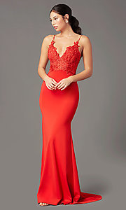 Image of PromGirl embroidered-bodice formal prom dress. Style: PG-H2001 Front Image