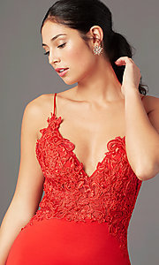 Image of PromGirl embroidered-bodice formal prom dress. Style: PG-H2001 Detail Image 1
