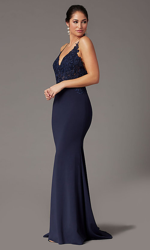 Image of PromGirl embroidered-bodice formal prom dress. Style: PG-H2001 Detail Image 5