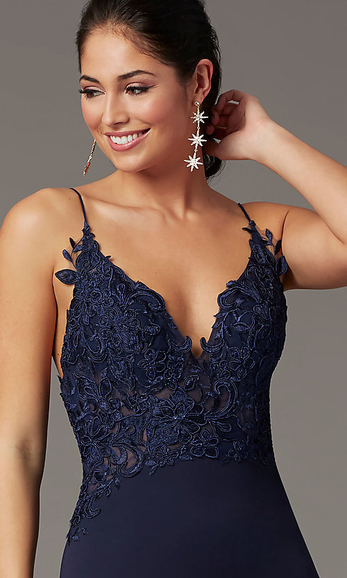 Image of PromGirl embroidered-bodice formal prom dress. Style: PG-H2001 Detail Image 6