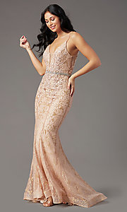 image of open-back glitter-mesh long prom dress by PromGirl. Style: PG-H2003 Detail Image 2