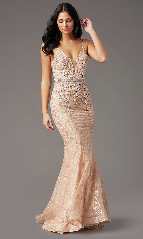image of open-back glitter-mesh long prom dress by PromGirl. Style: PG-H2003 Front Image