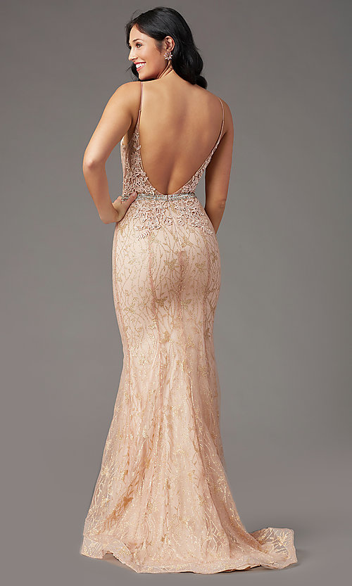 image of open-back glitter-mesh long prom dress by PromGirl. Style: PG-H2003 Back Image