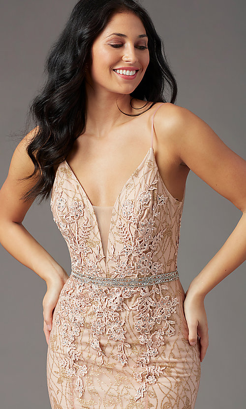 image of open-back glitter-mesh long prom dress by PromGirl. Style: PG-H2003 Detail Image 1
