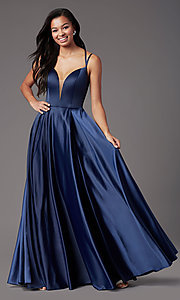 Image of open-back long formal satin prom dress by PromGirl. Style: PG-F2002 Detail Image 6