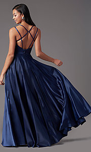 Image of open-back long formal satin prom dress by PromGirl. Style: PG-F2002 Detail Image 7