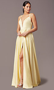 Image of open-back long formal satin prom dress by PromGirl. Style: PG-F2002 Front Image